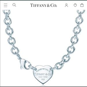 Tiffany & Co 925 Silver Heart Tag Choker Necklace